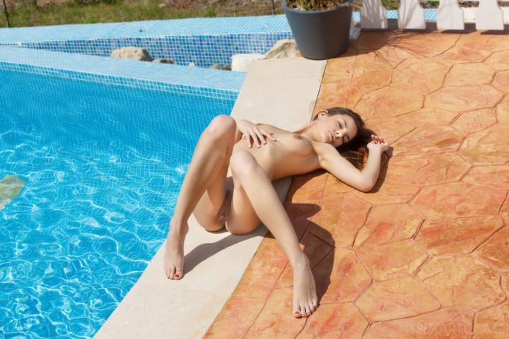 Sexy Brunette Candice Luka at the Pool