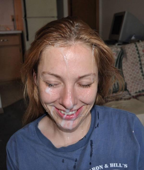 Amateur redhead girl get cum on face
